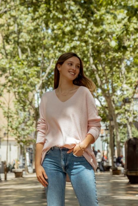 Wide wool sweater - HOUSTON-Rose